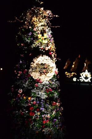 夜のクリスマスリース