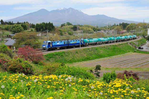 八ヶ岳と石油輸送貨物列車