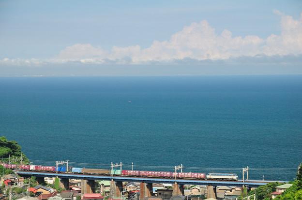 鉄橋を渡るEF66電機牽引の貨物列車