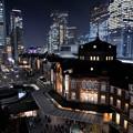 写真: 東京駅夜景