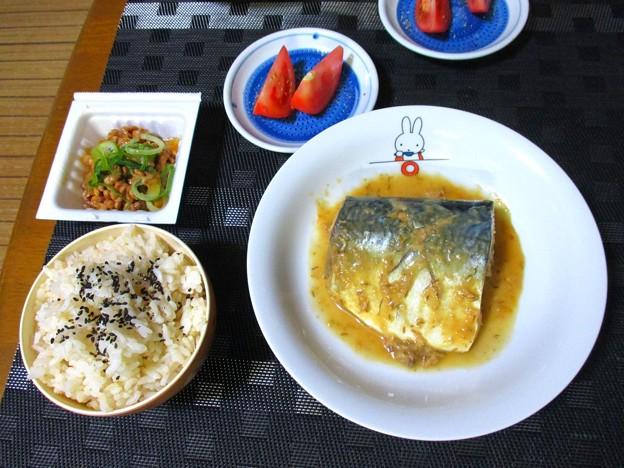 鯖の味噌煮定食風
