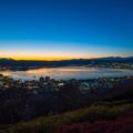 写真: 諏訪湖 青い時間