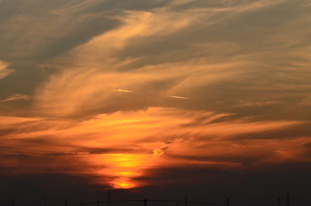 写真: 沈む夕陽
