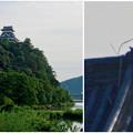 写真: 木曽川沿いから見上げた、落雷でシャチホコが壊れた犬山城(2017年7月15日) - 16