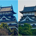写真: 落雷でシャチホコが破損した数日後の犬山城と2年前(2015年3月)の犬山城比較 - 2
