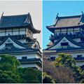 写真: 落雷でシャチホコが破損した数日後の犬山城と2年前(2015年3月)の犬山城比較 - 7