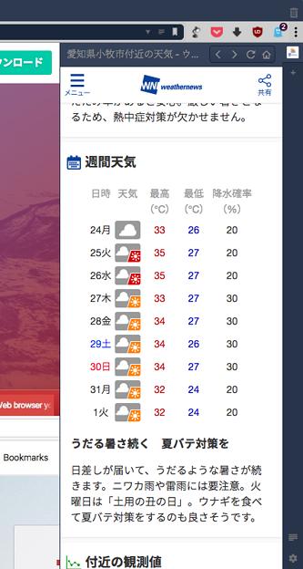 Vivaldi WEBパネル:ウェザーニュース - 3(週間天気)