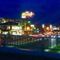 国道19号に架かる歩道橋の上から見た「春日井市民納涼まつり 2017」の花火 - 2