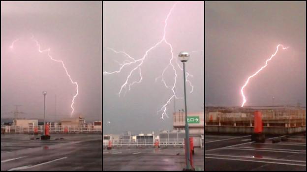 イオン小牧店屋上駐車場から撮影したスーパーセルの雷(2017年8月22日) - 53