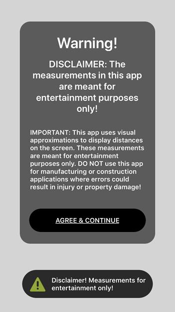 空間を測定できるARアプリ「AirMeasure AR」 - 1(初回起動時に表示されるアラート)