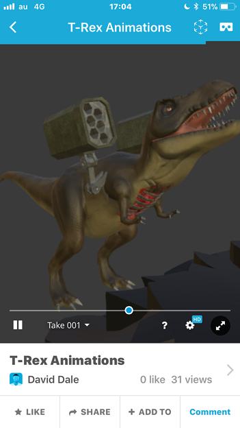3Dモデル共有サービス「Sketchfab」公式アプリ - 46:各モデルのページ(ロケットランチャーを装備したティラノサウルス)