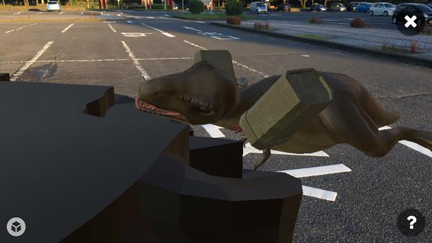 3Dモデル共有サービス「Sketchfab」公式アプリ - 51:3DモデルをAR!(ロケットランチャーを装備したティラノサウルス)