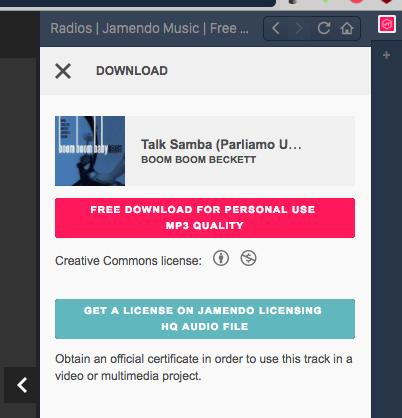 Vivaldi WEBパネルで「Jamendo Music」:音楽をダウンロード - 2
