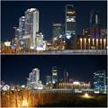 グローバルゲート最上階から撮影した夜の名駅ビル群 - 6
