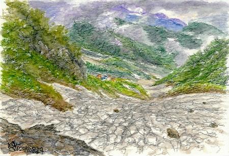20170824白馬鑓温泉の雪渓
