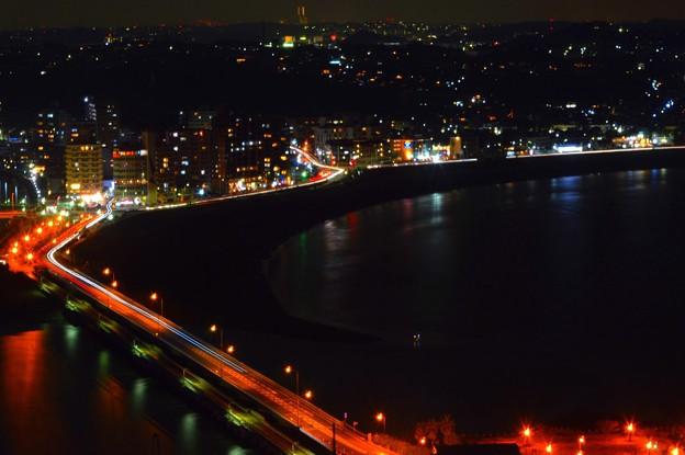 江ノ島大橋と片瀬東浜海岸 #湘南 #藤沢 #海 #波 #wave #surfing #mysky #beach #夜景 #nightview