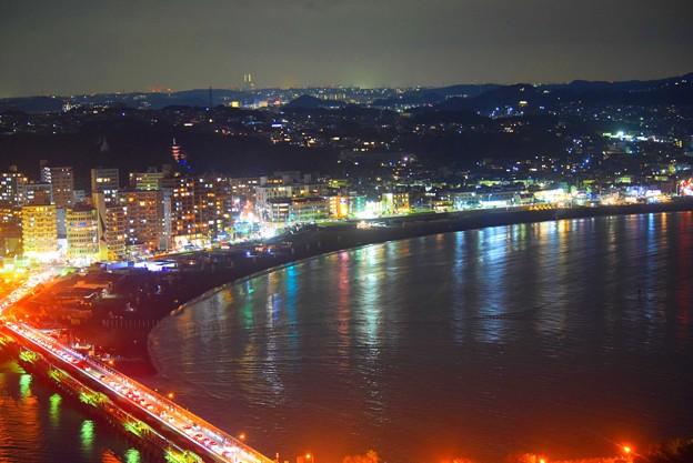 片瀬東浜海岸の夜景 #湘南 #藤沢 #海 #波 #wave #江ノ島 #mysky #nightview #夜景