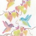 写真: パステル画(秋色の野鳥たち)