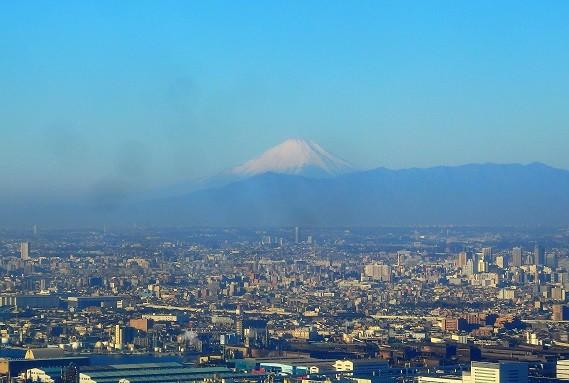 羽田上空からの富士山