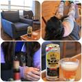 写真: お部屋でビール