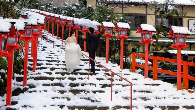 雪の結婚写真