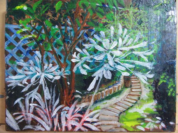 油絵進行状況「庭のアガパンサス」