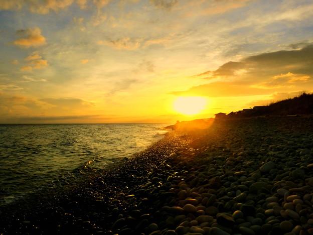 写真: 鳴り石の浜 朝景