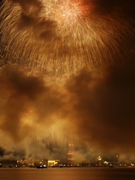 ハウステンボスに爆弾?って思うほどの煙でした。