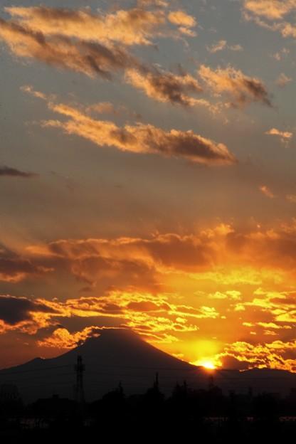 新春夕焼け富士