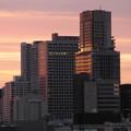 写真: 夜明けの高層ビル群