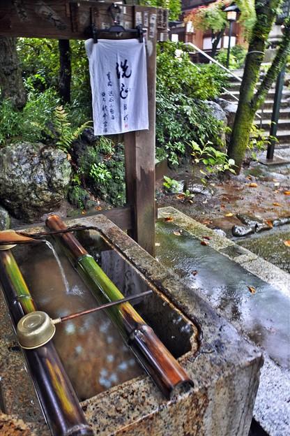 秋雨の手水舎