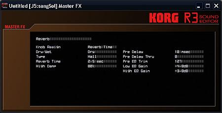 KORG R3 Master-FX-Edit-ウィンドウ