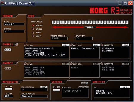 KORG R3 Program-Edit-ウインドウ