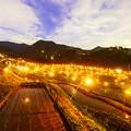 写真: 篝火と棚田