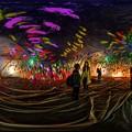 駿府城公園 奥中章人  風船状の巨大な彫刻作品 内部 ライトアップ 360度パノラマ写真