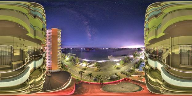 浜名湖、弁天島で見る星空 360度パノラマ写真
