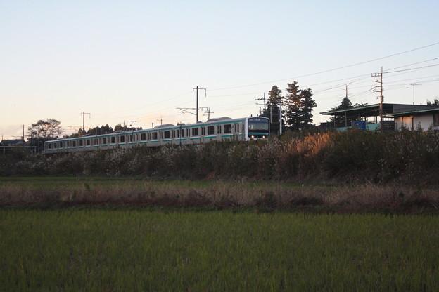 秋の田園風景を走りゆくE501系