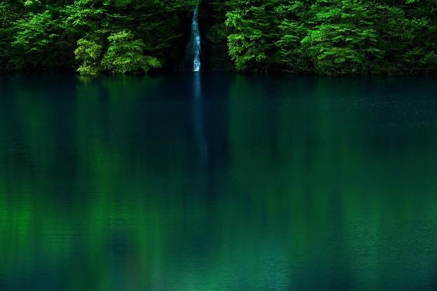 写真: 静かな湖面