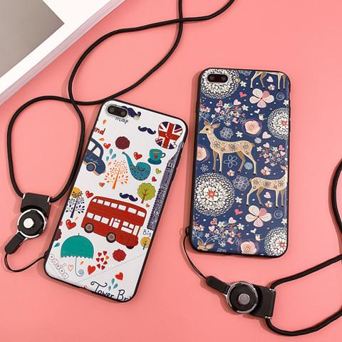 iphone8 ケース オリジナル 萌え系 シリコン製 iphoneX 鹿 iphone7 ソフトカバー アイフォン6s 浮き彫り ストラップ iphone7plus