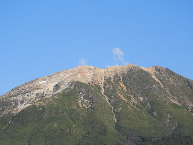 雌阿寒岳の噴煙と雪