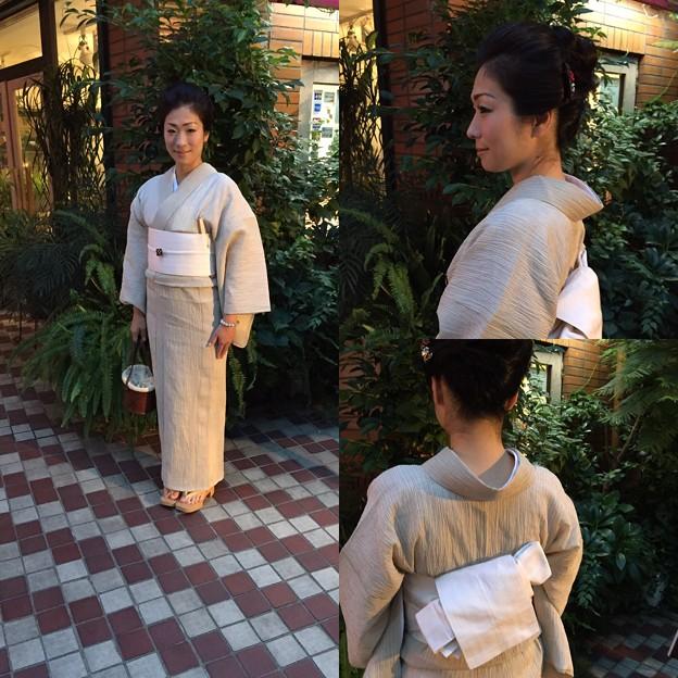 Photos: 麻の着物に半幅帯 角出し結び