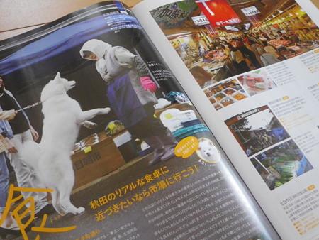 朝市で買い物 秋田犬