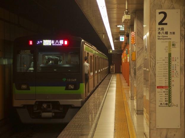 都営新宿線西大島駅2番線 都営10-540F各停本八幡行き前方確認