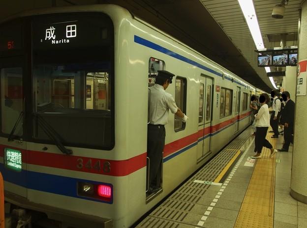都営浅草線五反田駅2番線 京成3441快速特急成田行き停止位置よし