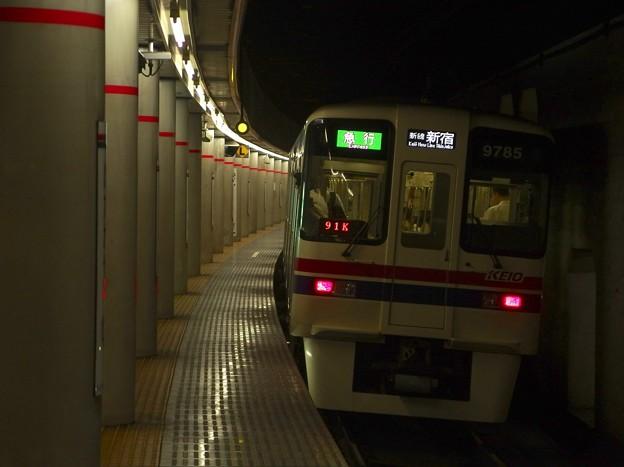 京王新線幡ヶ谷駅2番線 京王9035急行新線新宿行き前方確認
