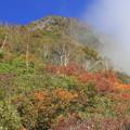 写真: 妙高山の山頂を見上げる