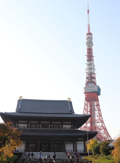 写真: 東京タワーと増上寺
