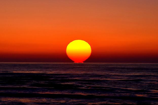 千里浜海岸の夕陽 DSC_3833