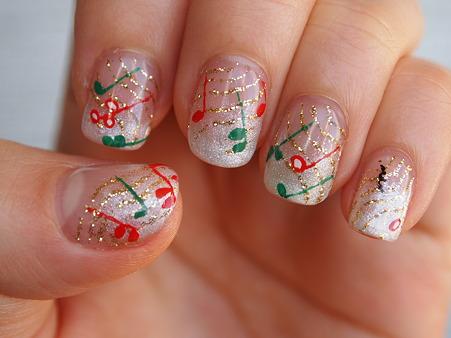 クリスマスネイル左手