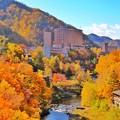 写真: 秋色に染まった定山渓